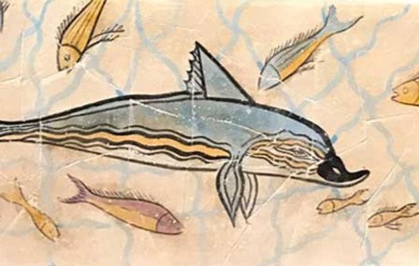 Minoan dolphin fresco tile