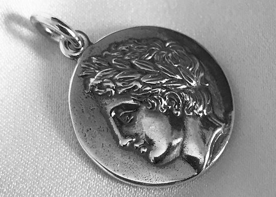 Apollo and lyre coin pendant (large)