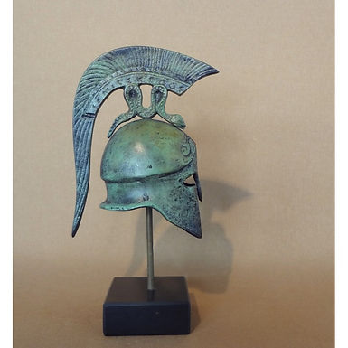 small bronze helmet with coiling serpent crest