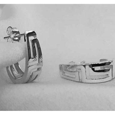 Greek key design half-hoop earrings