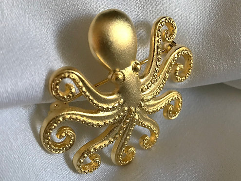 octopus gold-plated pendant brooch