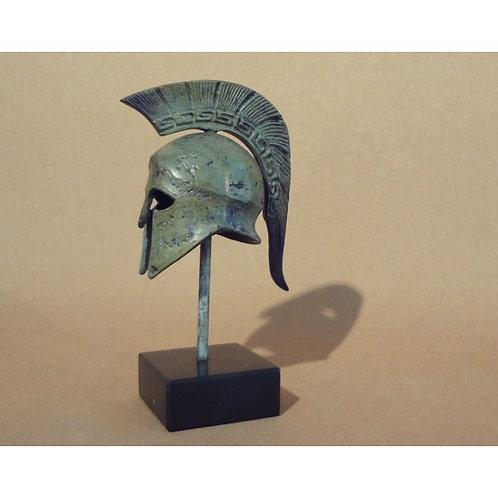 mini bronze helmet with Greek key crest