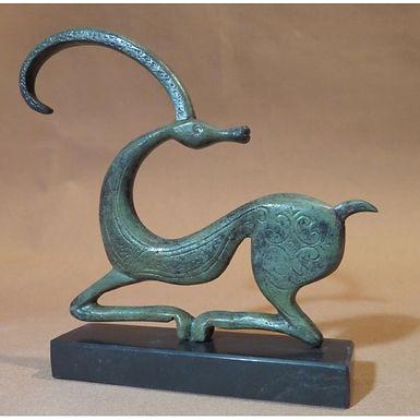 medium elegant bronze ibex