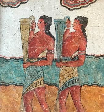 Minoan Procession Fresco - youths with rhyta (large)