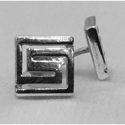Greek key design square earstuds