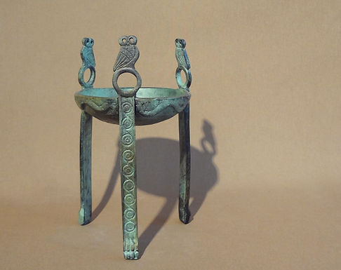 bronze tripod with owls (small)