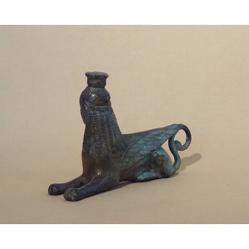 bronze reclining sphinx from Olympia