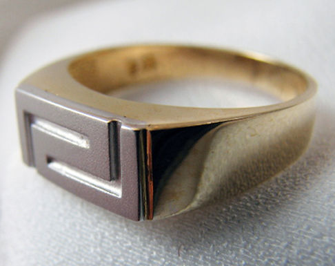 Greek key design two-tone ring (size 55/O/7.25)