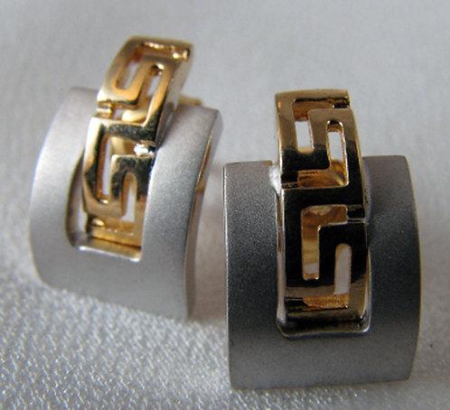 Greek key design earstuds