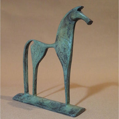 small bronze geometric horse