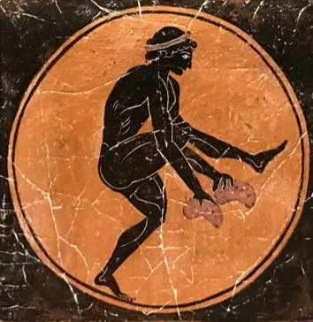 black figure ceramic tile - long jump