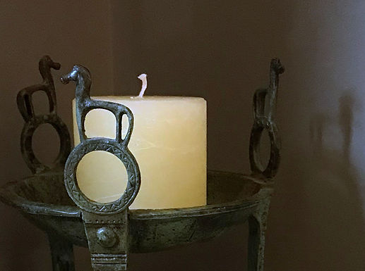 bay and rosemary scented pillar candle