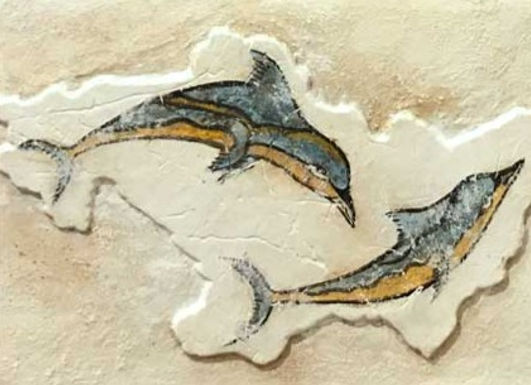 Minoan twin dolphins fresco tile (small)