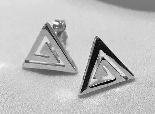 Greek key design triangle earstuds