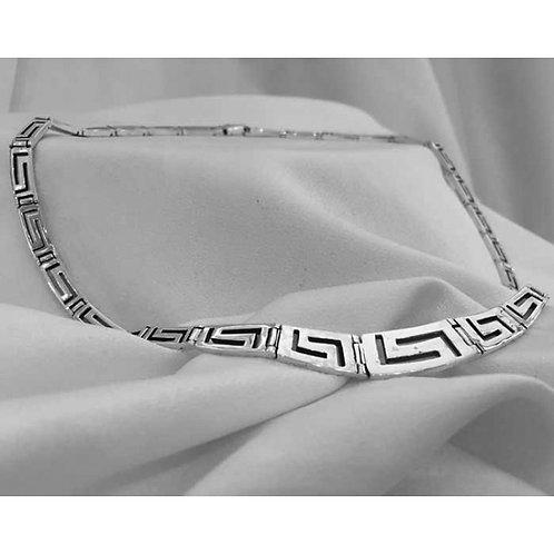 Greek key design tapered necklace