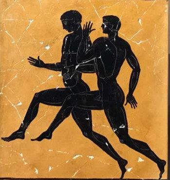 black-figure ceramic tile - runners
