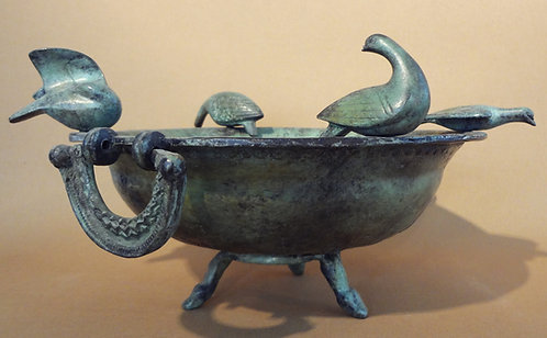 bronze bowl with four doves
