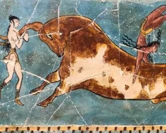 Minoan bull-leaping fresco tile (small)