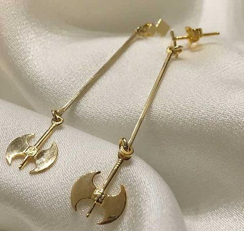 labrys double-axe long drop earrings