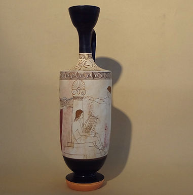 white-ground lekythos: offerings at a musician's tomb