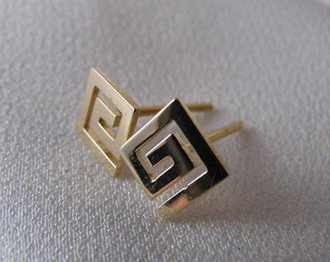 Greek key design small studs