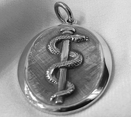 healing serpent of Asklepios pendant