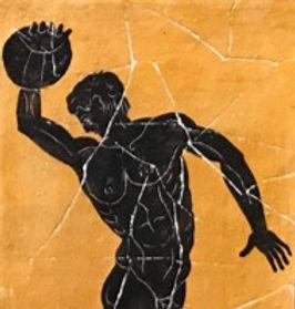 black-figure ceramic tile - discus-thrower