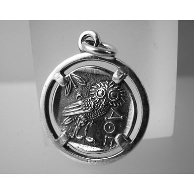 owl and Athena coin pendant (small)