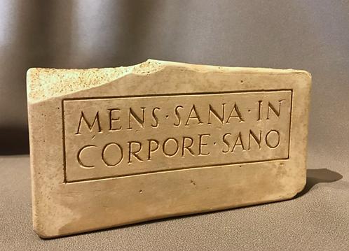 Latin inscription: 'A healthy mind in a healthy body.'