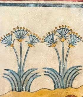 Minoan fresco tile with papyrus lilies