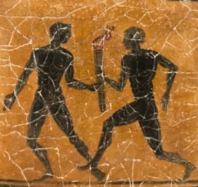black-figure ceramic tile - relay race