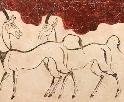 Minoan twin antelopes fresco tile (small)