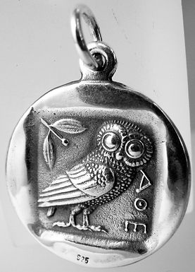 owl and Athena coin pendant