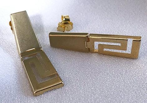 Greek key design two-panel earstuds
