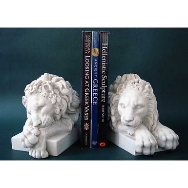 marble lion bookends pair