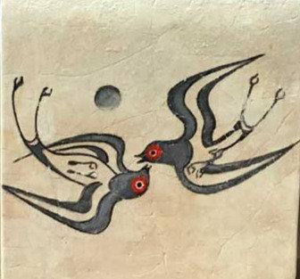 Minoan twin swallows fresco tile