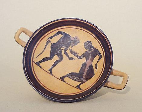 black-figure kylix: satyr and maenad