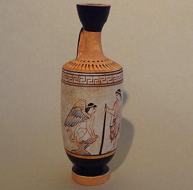 white-ground lekythos: Oedipus and the sphinx