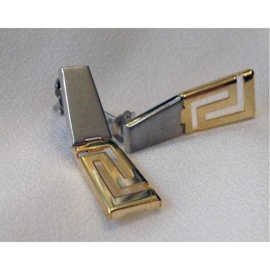 Greek key design two-panel earrings
