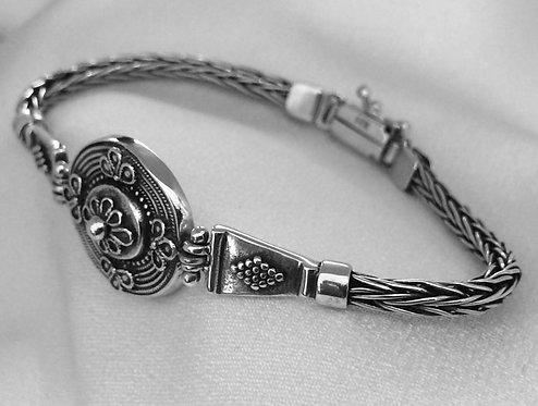 woven ornate shield bracelet