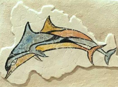 Minoan Flotilla Frieze fresco tile : dolphins detail