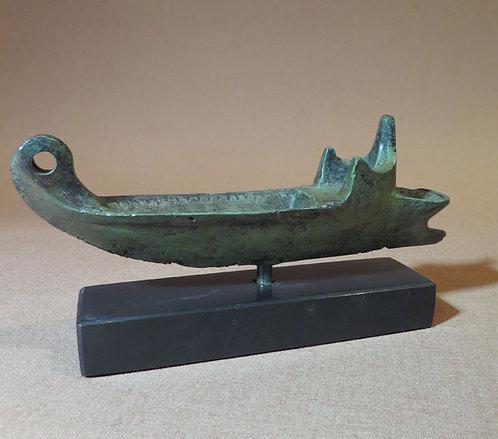 bronze ship oil lamp