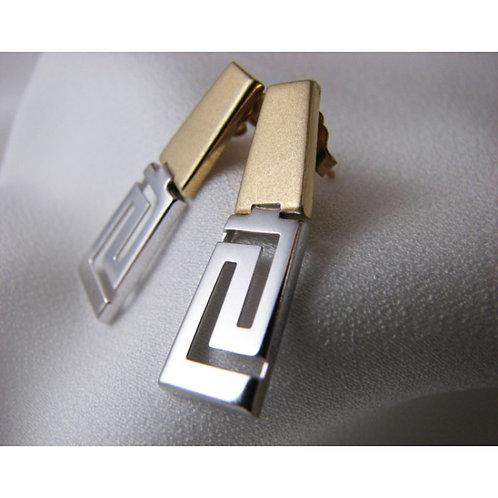 Greek key design two-tone earstuds