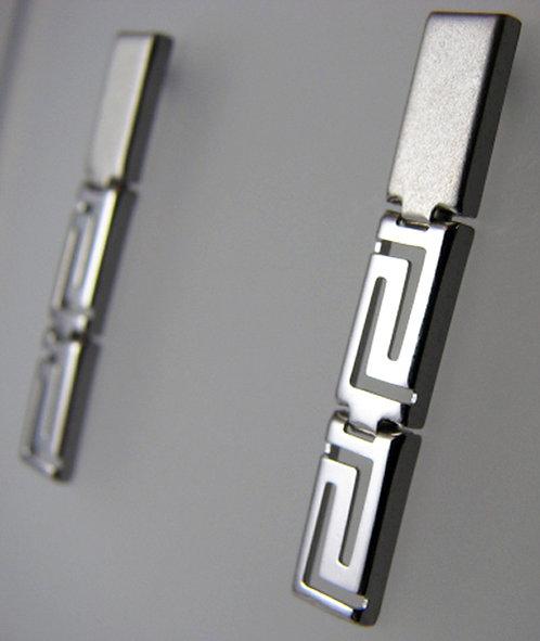 Greek key design drop earrings
