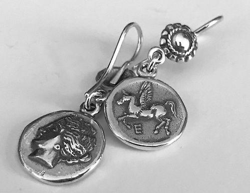 Aphrodite and Pegasus coin earrings