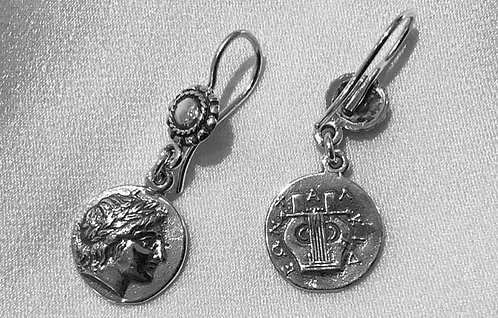 Apollo and lyre coin earrings
