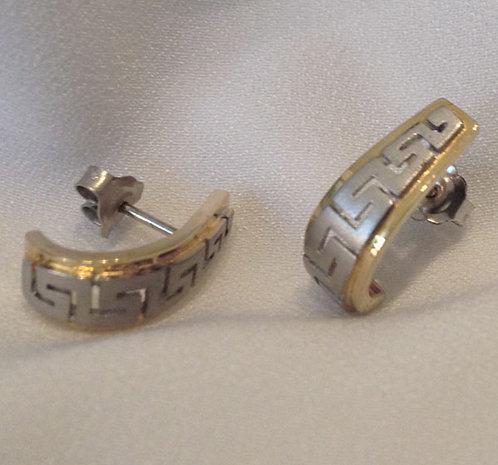 Greek key design curved earstuds.