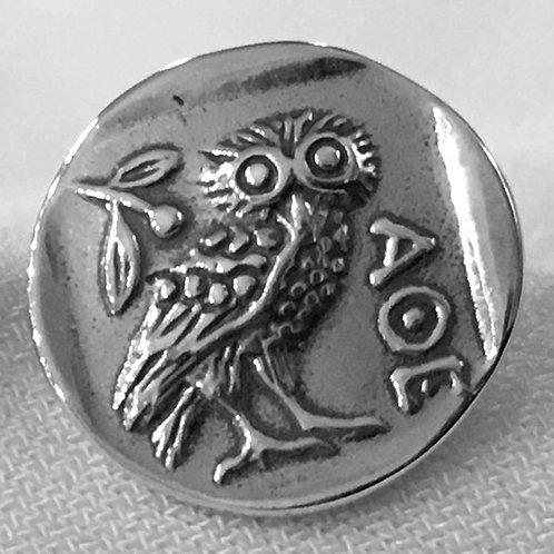 owl coin stud earrings