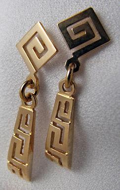 Greek key design earrings