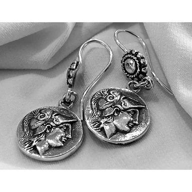 Athena and Nike coin earrings